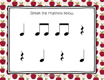 Apple Rhythms - A Pre-Reading Activity, Prepare Ta, Ti-ti, and Ta Rest