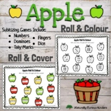 Apple Roll & Colour or Cover - Subitizing Numbers 1-6 Math Game