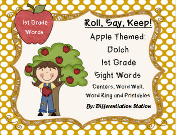 "Apple ""Roll, Say, Keep!"" 1st Grade Dolch Sight Word Center"
