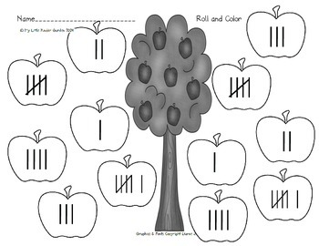 Apple Roll and Color, 1-6, word, tally, ten frame, dice