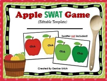Apple SWAT Game  (Editable Template (Blank) Version)