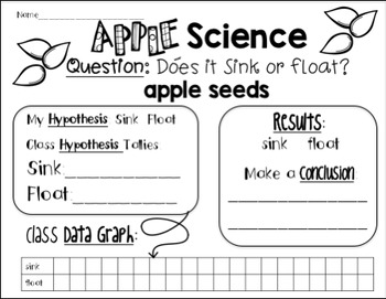 Apple Science Freebie: Sink or Float?