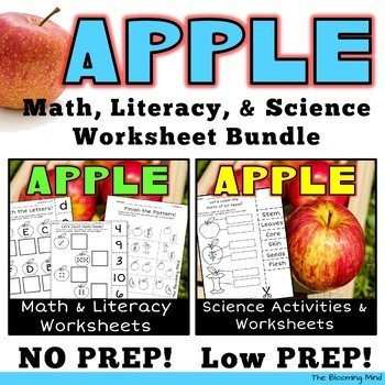 Apple Math Literacy and Science Worksheet Bundle