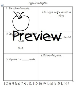 Apple Science Observation Data Sheet (Small Group)