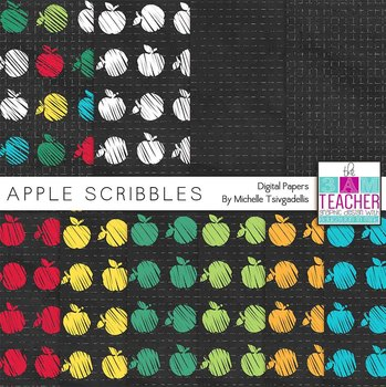 Apple Scribbles: Digital Papers Kit