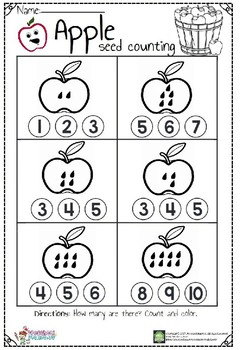 apple seed counting worksheet