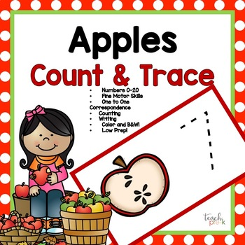 Apple Seeds! Trace & Count Math Center for Preschool, PreK, K & Homeschool