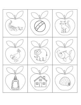 Apple Sensory Bin letters and Sounds