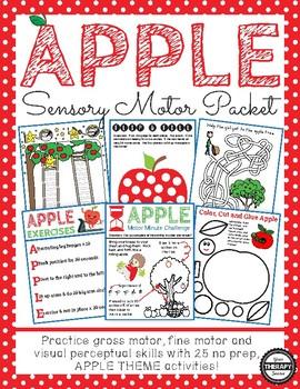 Apple Sensory Motor Packet - Fine Motor, Gross Motor and Visual Motor