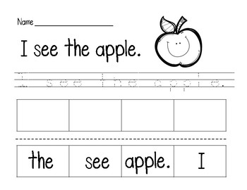 Apple Sentence Cut and Paste Freebie!!!