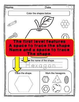 Apple Shape Review Worksheets With 3 Levels
