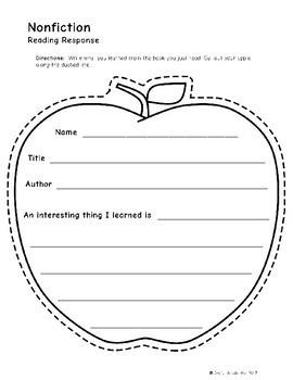 Apple-Shaped Reading Response Sampler - FREE!