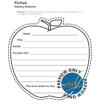 Apple-Shaped Reading Response Sheets