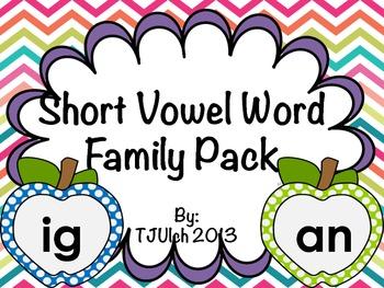 Apple Short Vowel Word Family Pack