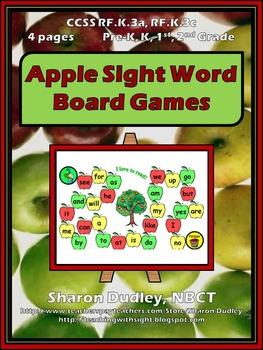 Apple Sight Word Board Games