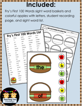 Apple Sight Word Building Fry's First 100 Words