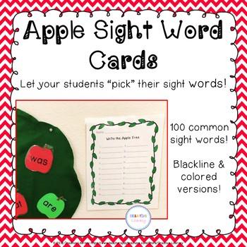 Apple Sight Word Cards