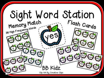 Apple Sight Word Cards / Kindergarten