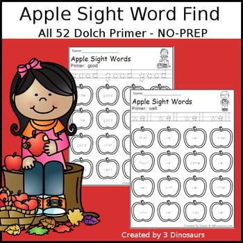 Apple Sight Word Find: Primer