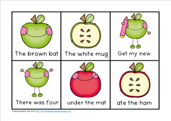 Apple Sight Word Fluency Phrases Race