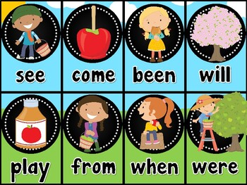 Apple Sight Word Card Game