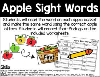 Apple Sight Words