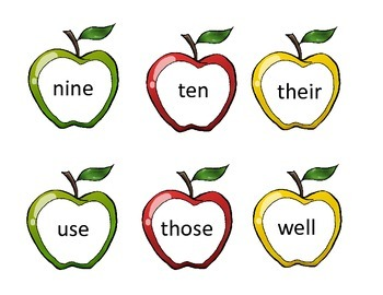 Apple Sight Words/Headers for Word Wall