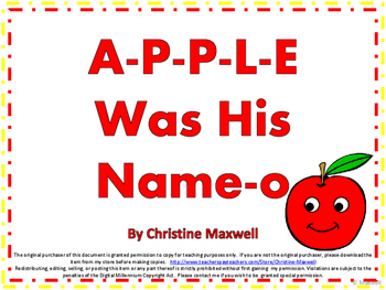 Apple Song And Posters A-P-P-L-E Was His Name-O for Fall