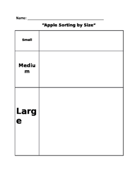 Apple Sorting Sheet - Size