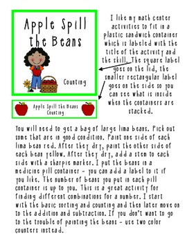 Apple Spill the Beans Math Center