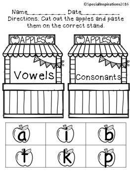 Apple Stand Vowels and Consonants Sorting Center (Orton-Gillingham)