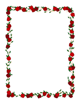 Apple Stationery Border Red Full Color Printable PDF