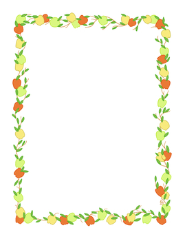 Apple Stationery Border Red Yellow Green Full Color Printable PDF
