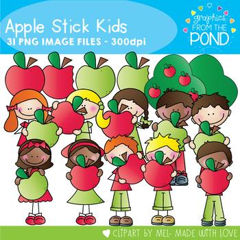 Apple Stick Kids - Clipart for Teaching