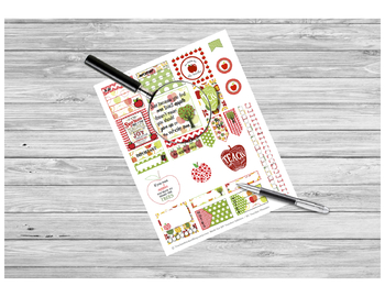 Apple Sticker Sheet PRINTABLE for Teacher Planners