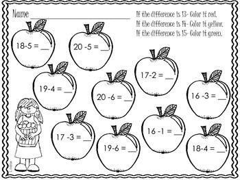 Apple Subtraction Color Worksheets- Freebie