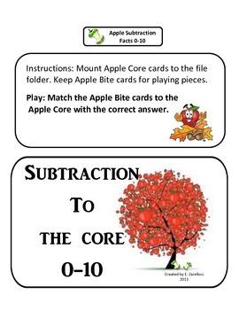 Apple Subtraction Facts 0-10: File Folder Activity