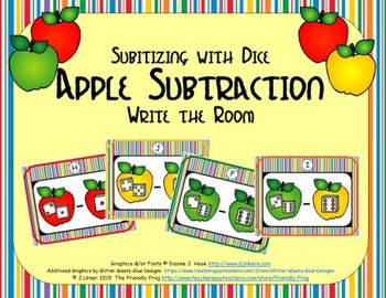 Apple Subtraction {Subitizing with Dice}