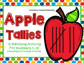 Apple Tally Mark Matching for Numbers 1-10 (Ink Friendly and Full Color)