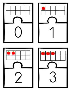 Apple Ten Frame 2 Piece Puzzle Match-ups 0-10
