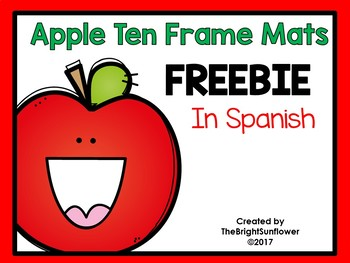 Apple Ten Frame Mats in Spanish FREEBIE