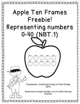 Apple Ten Frames Freebie (NBT.1) Count and Represent Numbers 0-60