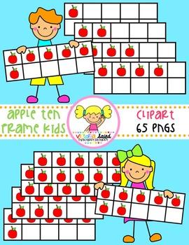 Apple Ten Frames {Kids Clipart}
