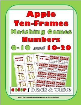 Ten Frames Activities Number Cards 0-20 - Apple Theme