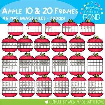 Apple Ten and Twenty Frame Clipart
