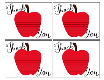 graphic regarding Printable Teacher Thank You Cards named Apple Thank On your own Be aware- Printable Instructor Electronic Thank Oneself