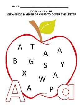 Apple Theme - A-Z Cover A Letter - Letter Recognition Activity
