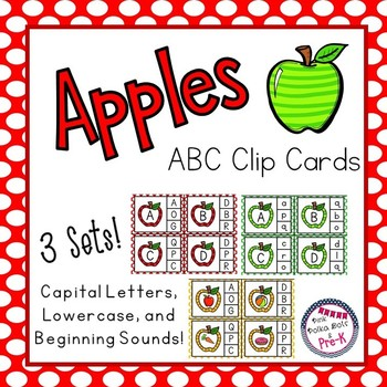 Apple Theme ABC and Beginning Sound Clip Cards