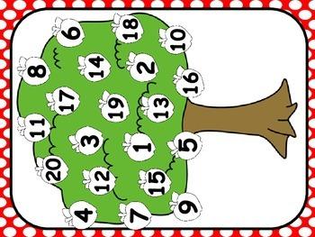 Apple Theme ABC & Number Identification Mats (1 - 20)