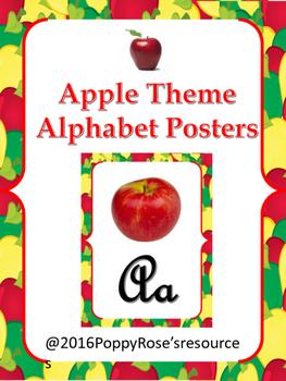 Apple Theme Alphabet Posters - Cursive Writing